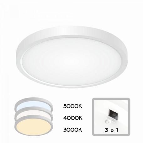 Потолочный светодиодный светильник Citilux Бейсик CL738180V, IP40, LED 18W 2200lm, белый, пластик
