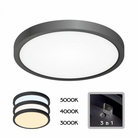 Потолочный светодиодный светильник Citilux Бейсик CL738181V, IP40, LED 18W 2200lm, черный, пластик