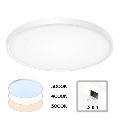 Потолочный светодиодный светильник Citilux Бейсик CL738400V, IP40, LED 40W 4800lm, белый, пластик