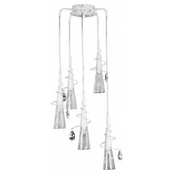 Люстра-каскад Lightstar Aereo 711050, 5xG9x25W, белый, прозрачный, металл, стекло, хрусталь