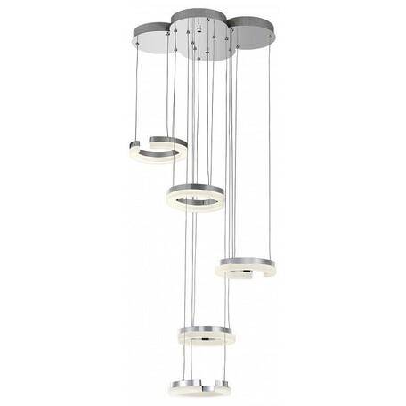 Светодиодная люстра-каскад Lightstar Unitario 763460, IP40, LED 46W, 4000K (дневной), хром, белый, металл, пластик