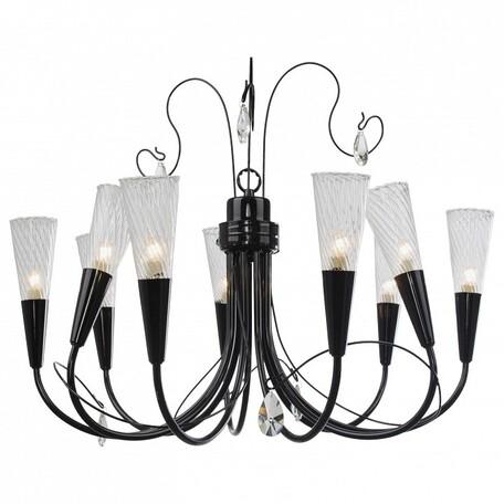 Подвесная люстра Lightstar Aereo 711097, 9xG9x25W, черный, прозрачный, металл, стекло, хрусталь