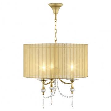 Подвесная люстра Lightstar Paralume 725033, 3xE14x40W, золото, матовое золото, прозрачный, металл с хрусталем, текстиль, хрусталь