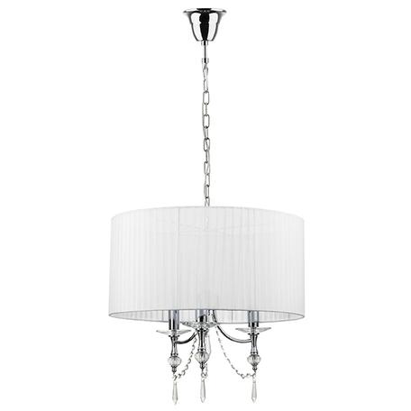 Подвесная люстра Lightstar Paralume 725036, 3xE14x40W, хром, белый, прозрачный, металл с хрусталем, текстиль, хрусталь