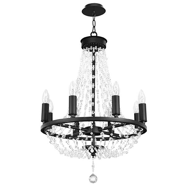 Подвесная люстра Lightstar Castello 744088, 8xE14x40W, черный, прозрачный, металл, ковка, хрусталь - фото 1