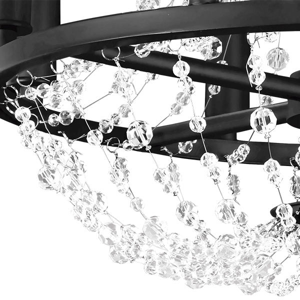 Подвесная люстра Lightstar Castello 744088, 8xE14x40W, черный, прозрачный, металл, ковка, хрусталь - фото 2