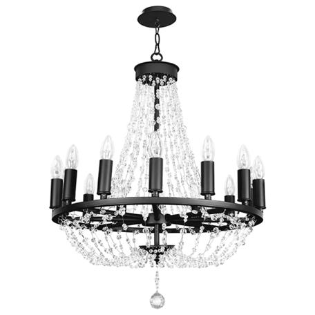 Подвесная люстра Lightstar Castello 744148, 14xE14x40W, черный, прозрачный, металл, ковка, хрусталь