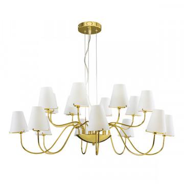 Подвесная люстра Lightstar Diafano 758162, 16xG9x40W, золото, белый, металл, стекло