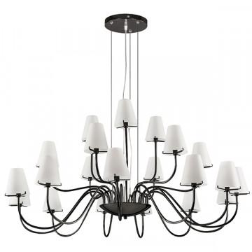 Подвесная люстра Lightstar Diafano 758217, 21xG9x40W, черный хром, белый, металл, стекло