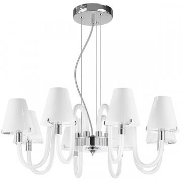 Подвесная люстра Lightstar Bianco 760086, 8xG9x40W, хром, белый, стекло