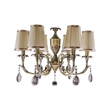Подвесная люстра Lightstar Osgona Cappa 691061, 6xE14x40W, бронза, коричневый, прозрачный, металл, текстиль, хрусталь