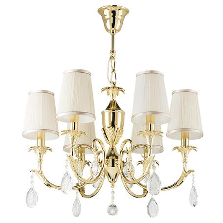 Подвесная люстра Lightstar Osgona Cappa 691062, 6xE14x40W, золото, бежевый, прозрачный, металл, текстиль, хрусталь