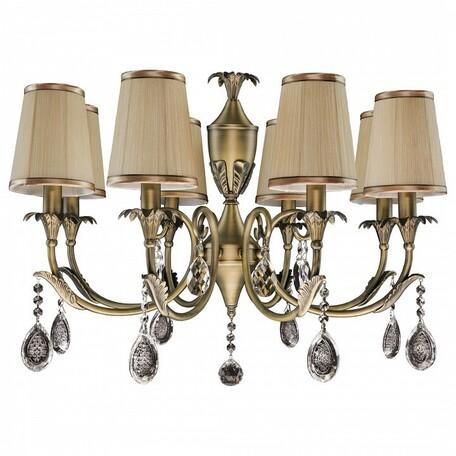 Подвесная люстра Lightstar Osgona Cappa 691081, 8xE14x40W, бронза, коричневый, прозрачный, металл, текстиль, хрусталь