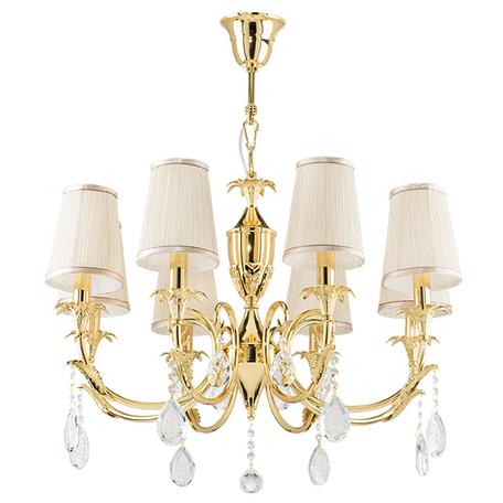 Подвесная люстра Lightstar Osgona Cappa 691082, 8xE14x40W, золото, бежевый, прозрачный, металл, текстиль, хрусталь