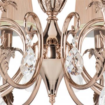 Подвесная люстра Lightstar Osgona Cappa 691084, 8xE14x40W, хром, бежевый, прозрачный, металл, текстиль, хрусталь - миниатюра 3