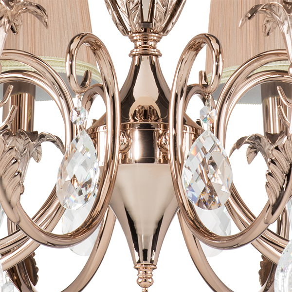 Подвесная люстра Lightstar Osgona Cappa 691084, 8xE14x40W, хром, бежевый, прозрачный, металл, текстиль, хрусталь - фото 3