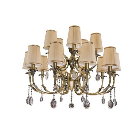 Подвесная люстра Lightstar Osgona Cappa 691151, 15xE14x40W, бронза, коричневый, прозрачный, металл, текстиль, хрусталь