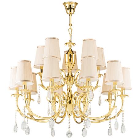 Подвесная люстра Lightstar Osgona Cappa 691152, 15xE14x40W, золото, бежевый, прозрачный, металл, текстиль, хрусталь