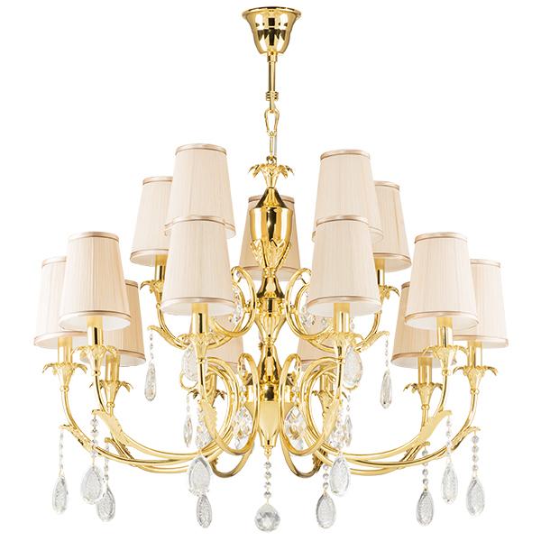 Подвесная люстра Lightstar Osgona Cappa 691152, 15xE14x40W, золото, бежевый, прозрачный, металл, текстиль, хрусталь - фото 1