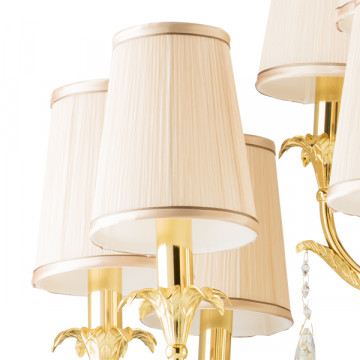 Подвесная люстра Lightstar Osgona Cappa 691152, 15xE14x40W, золото, бежевый, прозрачный, металл, текстиль, хрусталь - миниатюра 3