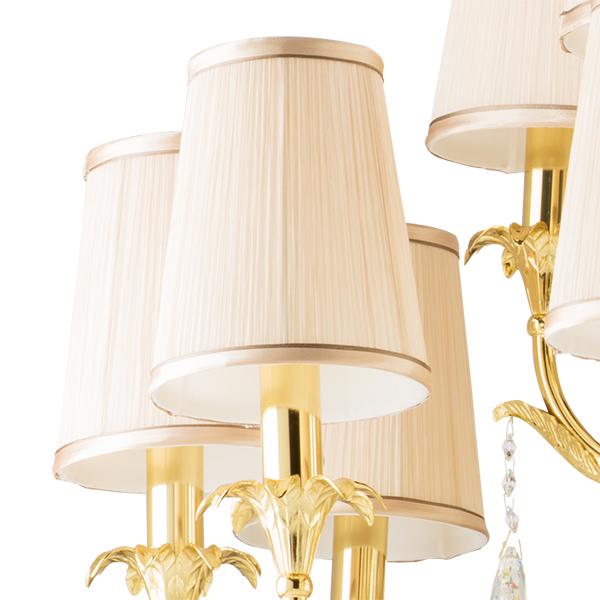 Подвесная люстра Lightstar Osgona Cappa 691152, 15xE14x40W, золото, бежевый, прозрачный, металл, текстиль, хрусталь - фото 3