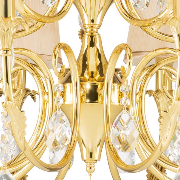 Подвесная люстра Lightstar Osgona Cappa 691152, 15xE14x40W, золото, бежевый, прозрачный, металл, текстиль, хрусталь - фото 4