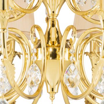 Подвесная люстра Lightstar Osgona Cappa 691152, 15xE14x40W, золото, бежевый, прозрачный, металл, текстиль, хрусталь - миниатюра 7