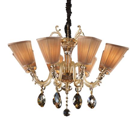 Подвесная люстра Lightstar Osgona Guarda 692082, 8xE14x40W, золото, коньячный, коричневый, металл, стекло, хрусталь, текстиль