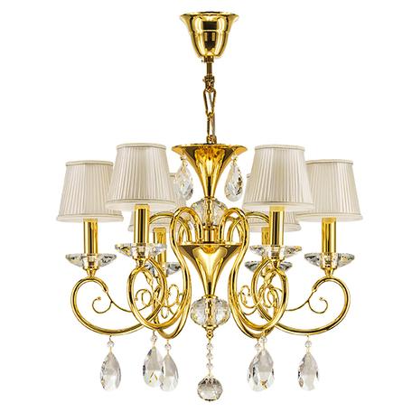 Подвесная люстра Lightstar Osgona Ricerco 693062, 6xE14x40W, золото, белый, прозрачный, металл с хрусталем, текстиль, хрусталь - миниатюра 1