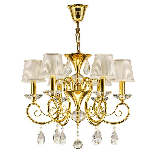 Подвесная люстра Lightstar Osgona Ricerco 693062, 6xE14x40W, золото, белый, прозрачный, металл с хрусталем, текстиль, хрусталь - фото 1