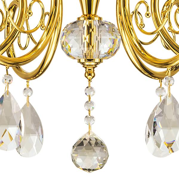 Подвесная люстра Lightstar Osgona Ricerco 693062, 6xE14x40W, золото, белый, прозрачный, металл с хрусталем, текстиль, хрусталь - фото 2
