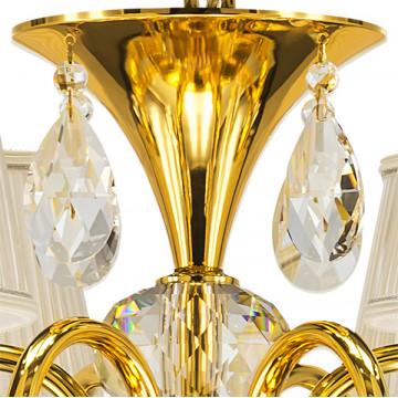 Подвесная люстра Lightstar Osgona Ricerco 693062, 6xE14x40W, золото, белый, прозрачный, металл с хрусталем, текстиль, хрусталь - миниатюра 4