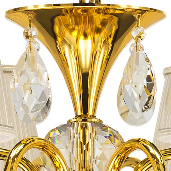 Подвесная люстра Lightstar Osgona Ricerco 693062, 6xE14x40W, золото, белый, прозрачный, металл с хрусталем, текстиль, хрусталь - фото 4