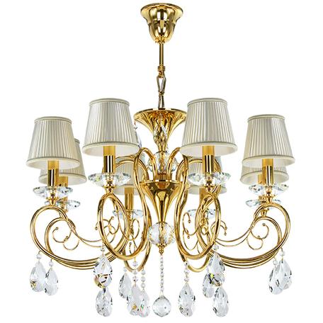 Подвесная люстра Lightstar Osgona Ricerco 693082, 8xE14x40W, золото, белый, прозрачный, металл с хрусталем, текстиль, хрусталь