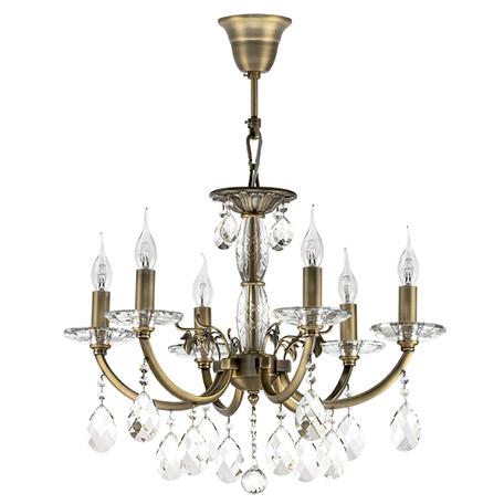 Подвесная люстра Lightstar Osgona Stregaro 694061, 6xE14x60W, бронза, прозрачный, металл с хрусталем, хрусталь