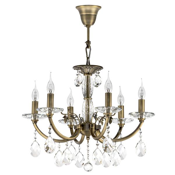 Подвесная люстра Lightstar Osgona Stregaro 694061, 6xE14x60W, бронза, прозрачный, металл с хрусталем, хрусталь - фото 1