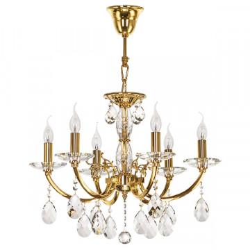 Подвесная люстра Lightstar Osgona Stregaro 694062, 6xE14x60W, золото, прозрачный, металл с хрусталем, хрусталь
