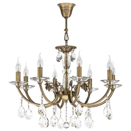 Подвесная люстра Lightstar Osgona Stregaro 694081, 8xE14x60W, бронза, прозрачный, металл с хрусталем, хрусталь