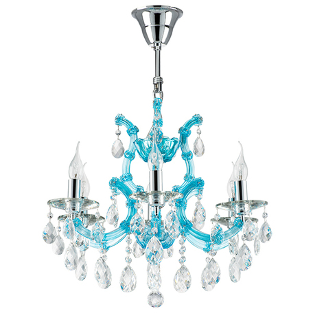 Подвесная люстра Lightstar Osgona Champa Blu 698065, 6xE14x60W, голубой, прозрачный, стекло, хрусталь