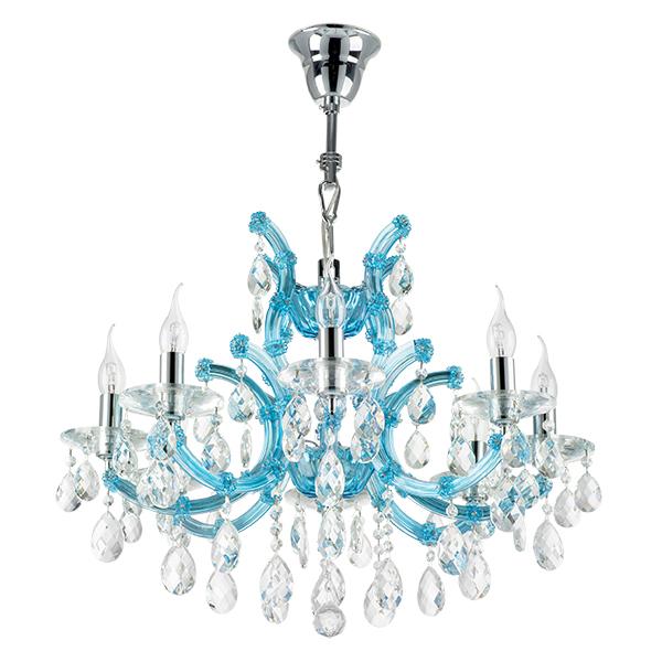 Подвесная люстра Lightstar Osgona Champa Blu 698085, 8xE14x60W, голубой, прозрачный, стекло, хрусталь - фото 1