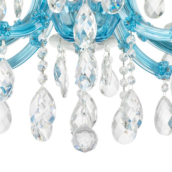 Подвесная люстра Lightstar Osgona Champa Blu 698085, 8xE14x60W, голубой, прозрачный, стекло, хрусталь - фото 5