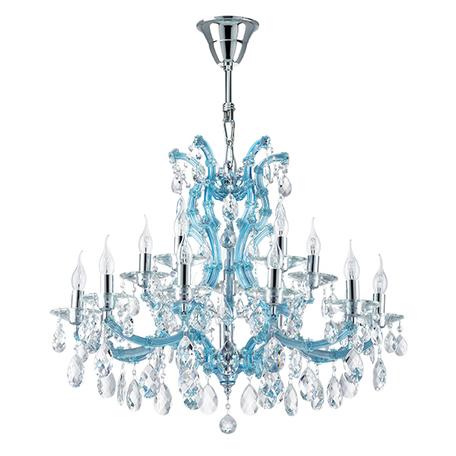 Подвесная люстра Lightstar Osgona Champa Blu 698165, 16xE14x60W, голубой, прозрачный, стекло, хрусталь