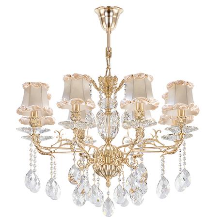 Подвесная люстра Lightstar Osgona Fiocco 701081, 8xE14x40W, матовое золото, бежевый, прозрачный, металл с хрусталем, текстиль, хрусталь