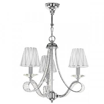Подвесная люстра Lightstar Osgona Riccio 705034, 3xE14x40W, хром, белый, металл со стеклом/хрусталем, пластик