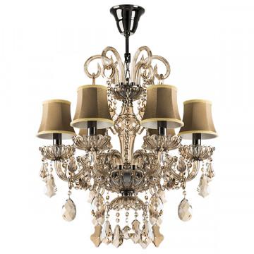 Подвесная люстра Lightstar Osgona Nativo 715067, 6xE14x40W, черный хром, коньячный, бежевый, стекло, хрусталь, текстиль