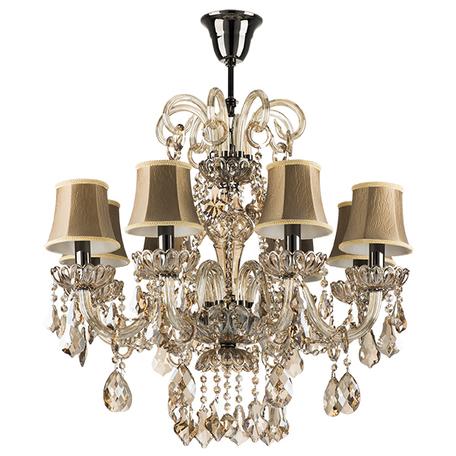 Подвесная люстра Lightstar Osgona Nativo 715087, 8xE14x40W, черный хром, коньячный, бежевый, стекло, хрусталь, текстиль