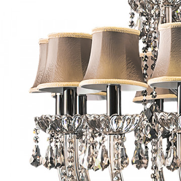 Подвесная люстра Lightstar Osgona Nativo 715577, 57xE14x40W, черный хром, коньячный, бежевый, стекло, хрусталь, текстиль - миниатюра 7