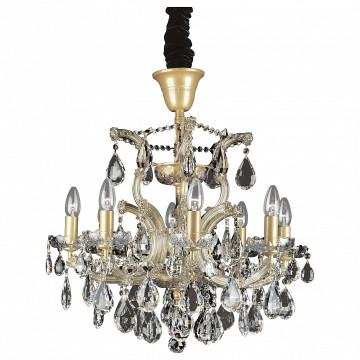 Подвесная люстра Lightstar Osgona Champa 775083, 8xE14x60W, золото, прозрачный, янтарь, стекло, хрусталь