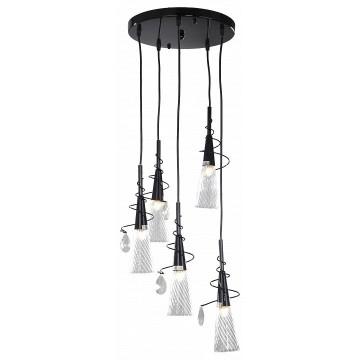 Люстра-каскад Lightstar Aereo 711057, 5xG9x25W, черный, прозрачный, металл, стекло, хрусталь
