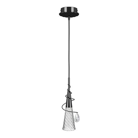 Подвесной светильник Lightstar Aereo 711017, 1xG9x25W, черный, прозрачный, металл, стекло, хрусталь